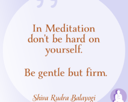 In meditation don't be hard on yourself